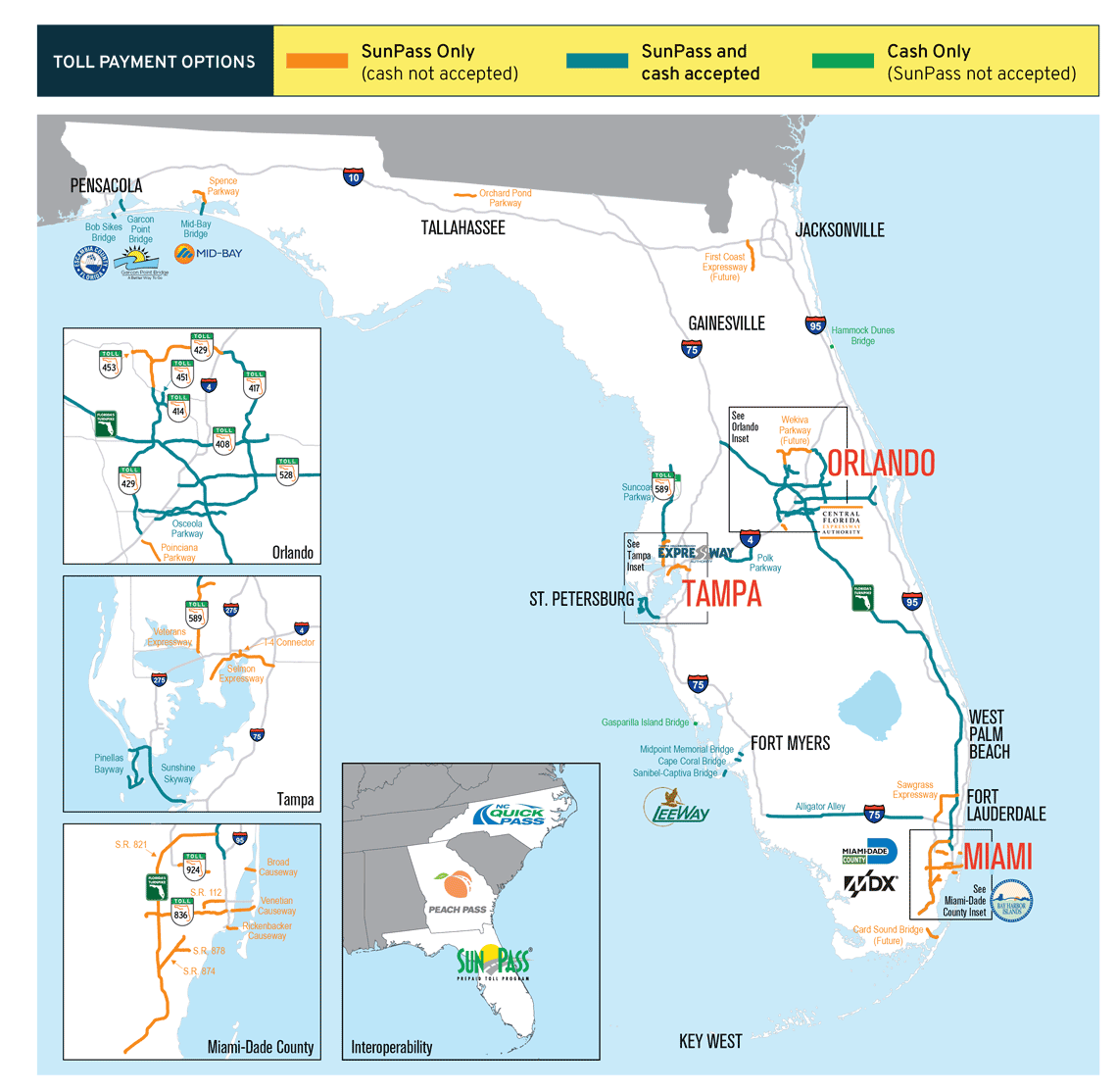 Florida toll map