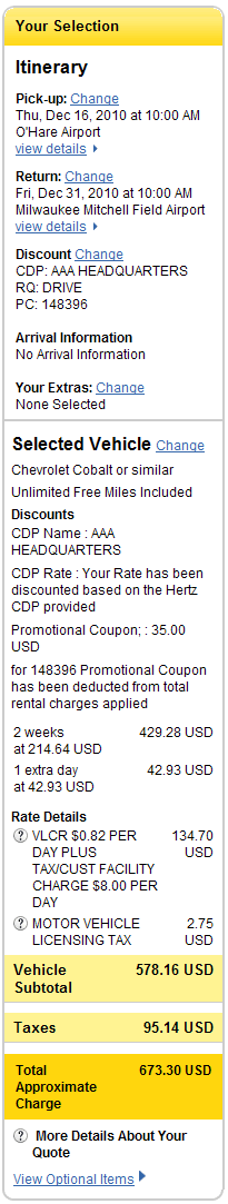 Rate with DRIVE plus discounts applied